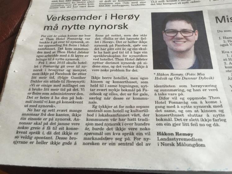 Lesarbrev om Thon Hotel Fosnavåg
